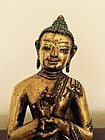 15th/16th Century Gilt Bronze Figure of Buddha