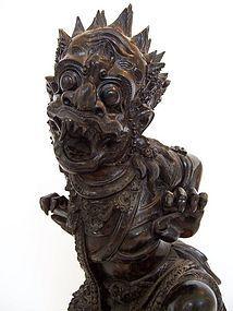 A Superb Indonesian Ebony Wood Carving of Ruana
