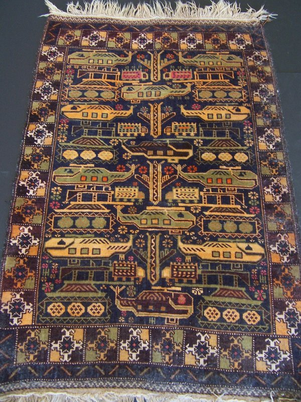 An Afghani Hand-Made Rug with American Military Motifs