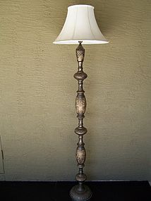 Large and Elegant Hand-Etched Brass Floor Lamp, India