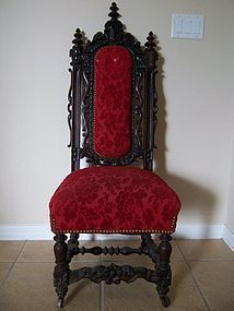 A Good 19th Century Hand-Carved Hall Chair