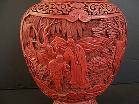 Very Fine Cinnabar Lacquer Vase, Late 18th / Early 19th