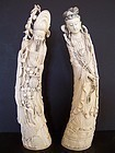 A Fine and Massive Pair of Ivory Carvings, late 19th