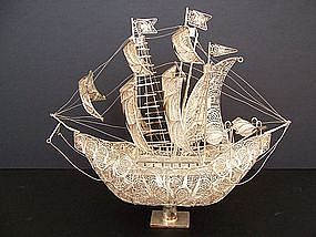 An Extremely Fine Peruvian Silver Filigree Boat