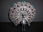 A Fine Indian Silver Filigree Peacock, Rajasthan India