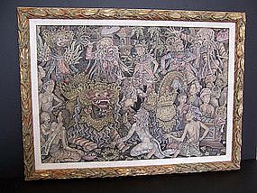 A Superb Indonesian Barong Dance Painting, ex Museum