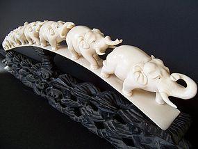 A Large Carved Ivory Elephant Bridge, 19th Century