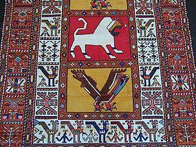 A Very Striking Vintage Persian Silk/Cotton Kilim Rug