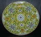 Yellow ground flower plate, Daoguang (1821 - 1850)