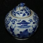 Covered bowl in under glaze blue, late Qing.