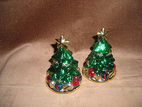 PORCELAIN CHRISTMAS TREES SALT & PEPPER SHAKERS