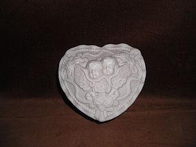 WHITE BISQUE ANGEL TRINKET BOX