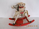 ENESCO VINTAGE MUSIC BOX ROCKING HORSE WITH TEDDY BEAR
