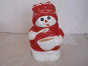 DEPT 56 BILLY BUTTONS SNOWMAN COOKIE JAR