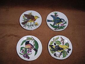 FRANKLIN PORCELAIN 4 MINI DECORATIVE BIRD PLATES