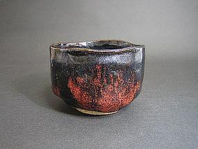 Black Raku-yaki Nodate Chawan by Sasaki Shoraku