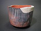 Red Raku-yaki Chawan by Waraku