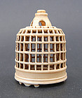 Small and rare miniature ivory cricket cage. Qing