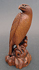 Superb boxwood okimono of an eagle. Signed IKKO