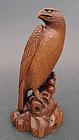 Superb boxwood okimono of an eagle. Signed IKKO
