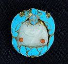 Brooch kingfisher feathers with jade piece Milefo