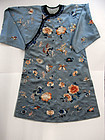 Embroidered satin Manchu's woman robe. Late Qing