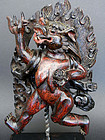 Rare & powerful zitan Lion-headed Dakini. Tibet 18th c