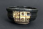 Great black Oribe tea cup/chawan. Edo, 19th cent.