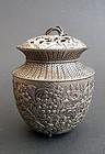 Interesting incense burner (koro); flowers & crickets