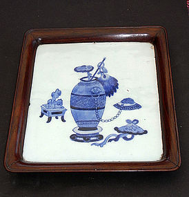 Tray with porcelain tile decorated w scholar�s objects