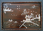 Large hongmu tray inlaid with mother-of-pearl. Qing