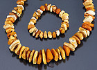 Vintage natural amber necklace & bracelet; 105 grams