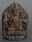 Zitan wood triad Padmasambhava (Lianhuasheng) & consorts. 18th c