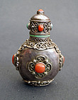 Good Mongolian snuff bottle in silver with corals & turquoise