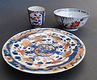 A Chinese Imari style porcelain lot: bowl, dish & cup. Qing 18th cent