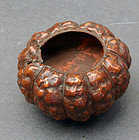 Organic brush washer (shuiyin) carved in shape of a pumpkin