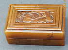 A soapstone (shoushanshi) box with 2 small seals & seal paste. 19th c