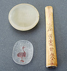 Jade snuff dish, Pecking glass snuff dish & ivory cigaret holder