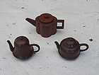Antique miniature teapots of yixing clay (zisha). All signed.