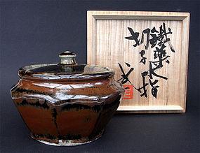 Kawai Buichi, great octagonal water jar with lid (mizusashi)
