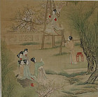A fine painting on silk depicting a palace garden scene with ladies