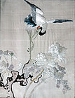 Fine silk embroidery with crane, peonies and rock. Qing 19th cent