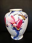 A nice Fukagawa porcelain vase magnolia flowers & bird.