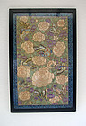 fine embroidery on silk with large peonies & butterflies. Late Qing