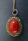 Beautiful Early 20th c. Chinese export coral enamel filigree pendant