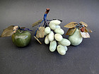 Vintage set of decorative jade fruits; apple,cluster of grapes & pear
