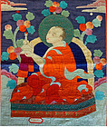 Silk applique' thangka depicting Arhat Nandimitra. Mongolia 19th c.