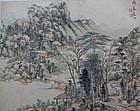 Fine album leaf painting, scholar landscape. Xue Xuan (1700-1732)