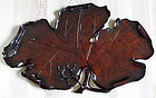 Beautiful & large tea ceremony tray in shape of wine leaf. Meiji