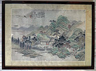Landscape painting with a scholar�s retreat in mountain. Zhang Ruan